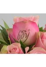 Magic Flowers Boeket 9 rozen - Roze - It's a Boy