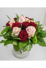 Magic Flowers Boeket 15 rozen - Rood/Roze - Welcome Beautiful Baby