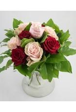 Magic Flowers Boeket 9 rozen - Rood/Roze - Welcome Beautiful Baby