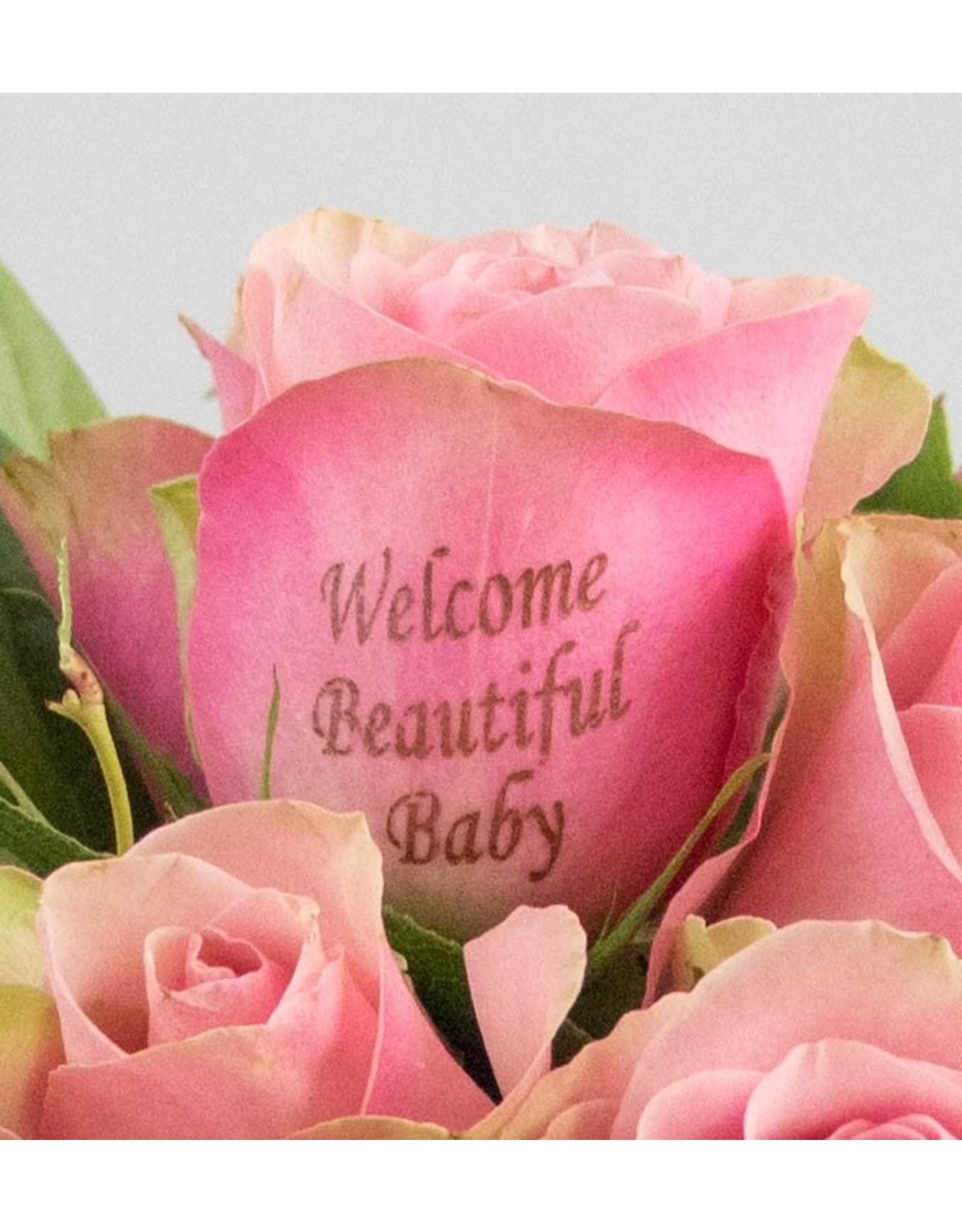 Magic Flowers Boeket 9 rozen - Roze - Welcome Beautiful Baby