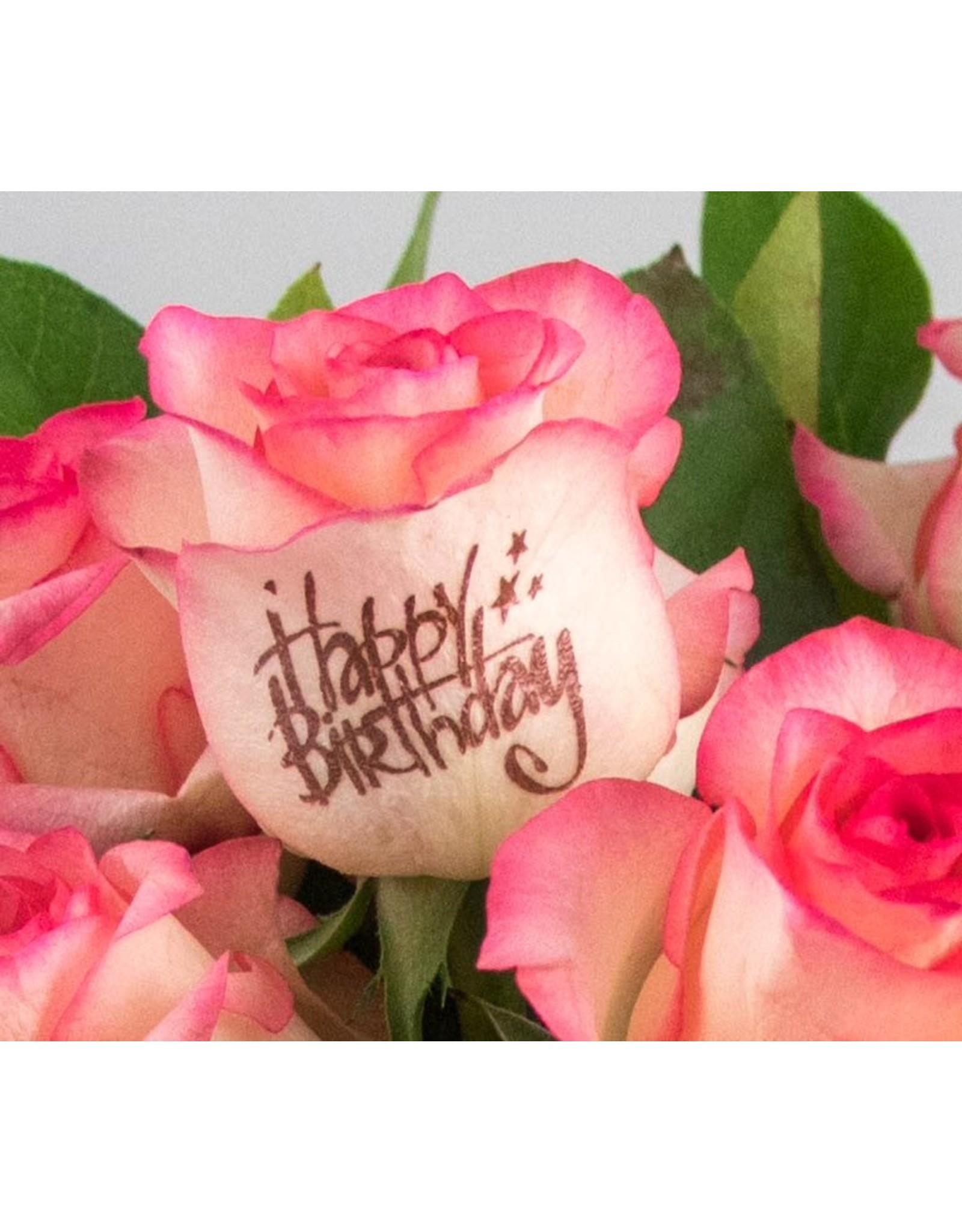 Magic Flowers Boeket 15 rozen - Wit/Roze - Happy Birthday