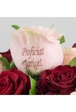 Magic Flowers Boeket 9 rozen - Rood/Roze - Proficiat Jarige