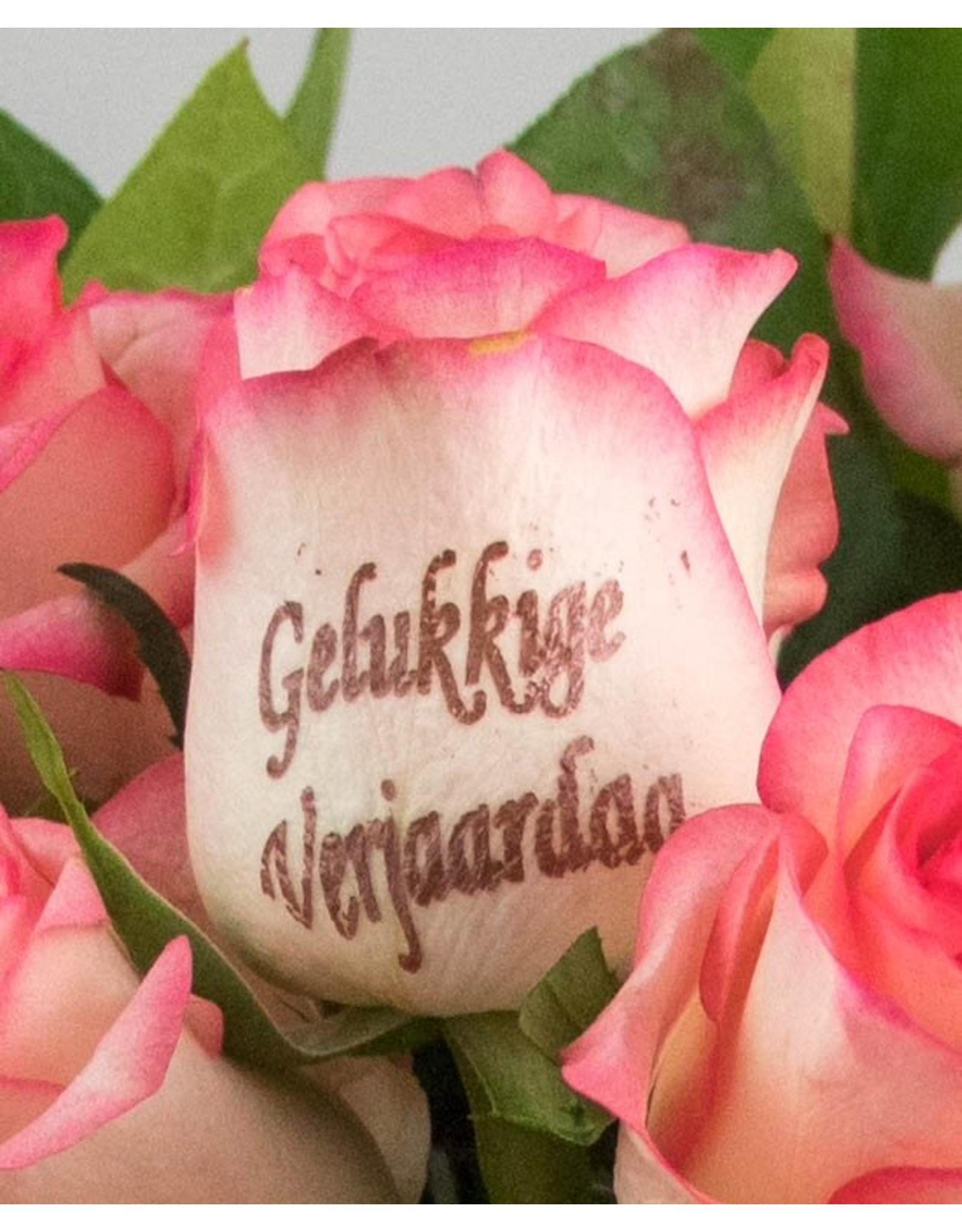 Magic Flowers Boeket 15 rozen - Wit/Roze - Gelukkige Verjaardag