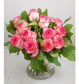 Magic Flowers Boeket 15 rozen - Wit/Roze - 50