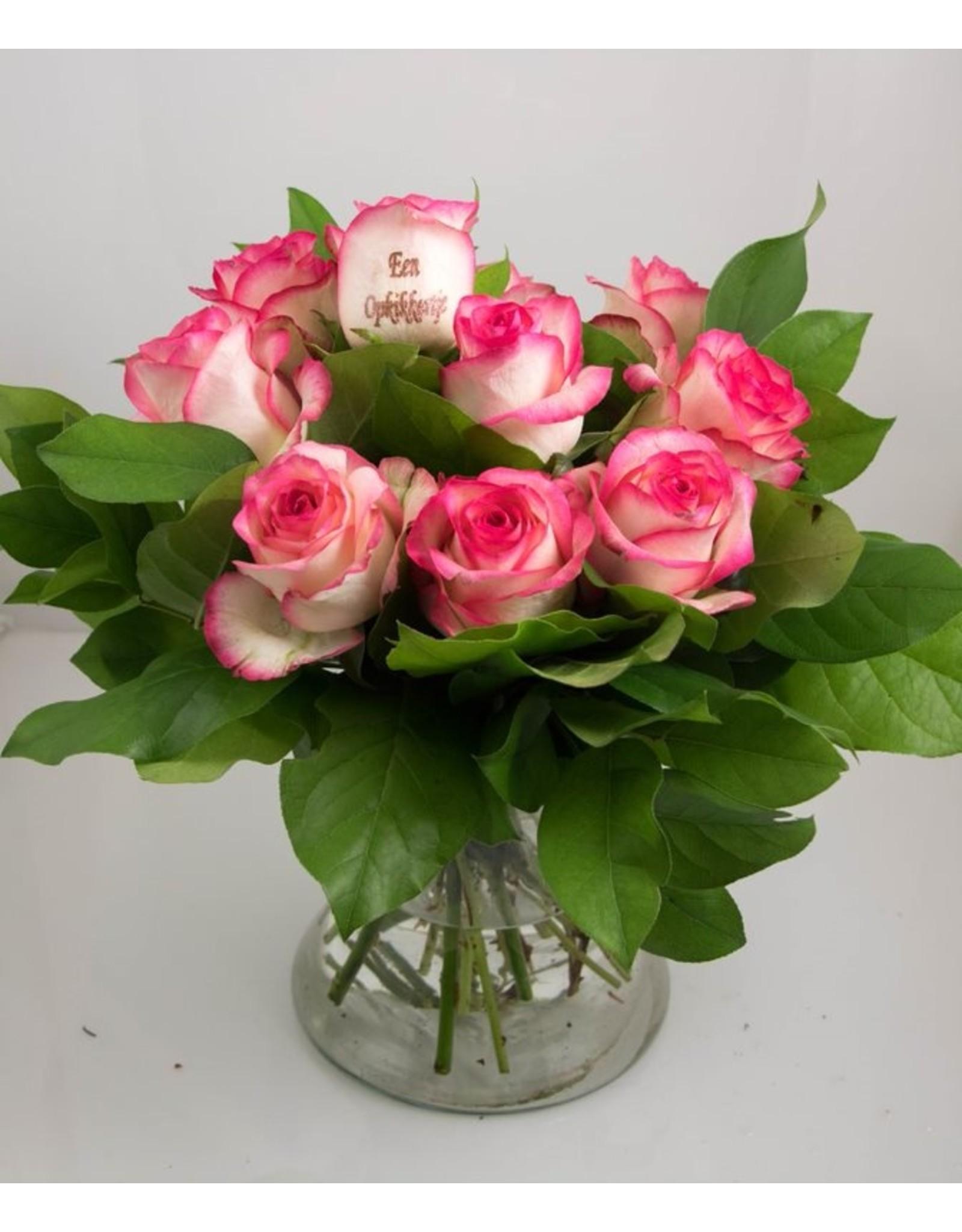 Magic Flowers Boeket 9 rozen - Wit/Roze - Een opkikkertje