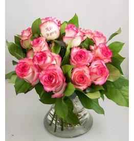 Magic Flowers Boeket 15 rozen -Wit/Roze - Zie je graag