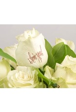 Magic Flowers Boeket 15 rozen - Wit - Love you