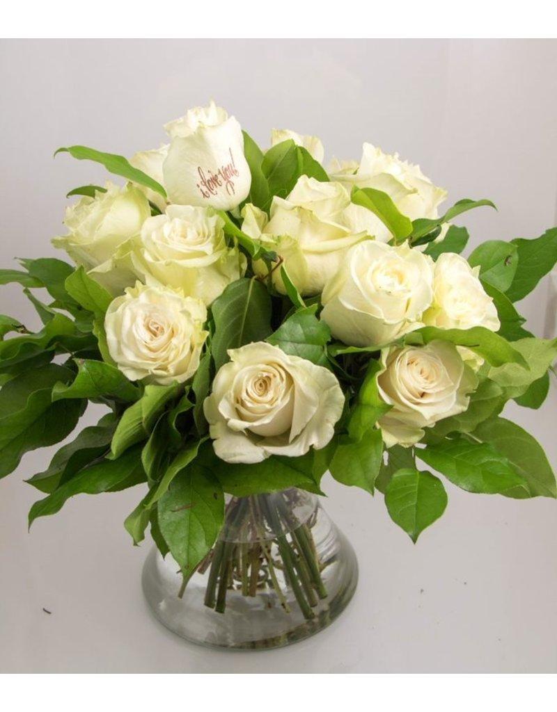 Magic Flowers Boeket 15 rozen - Wit - Love you
