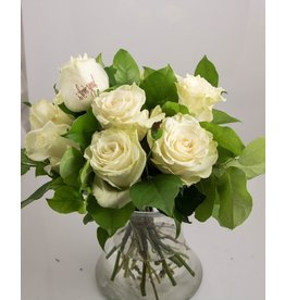 Magic Flowers Boeket 9 rozen - Wit - Love you
