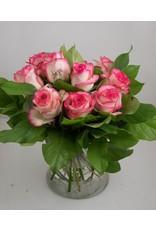Magic Flowers Boeket 9 rozen - Wit/Roze - Love you