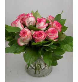 Magic Flowers Boeket 9 rozen - Wit/Roze - Love you