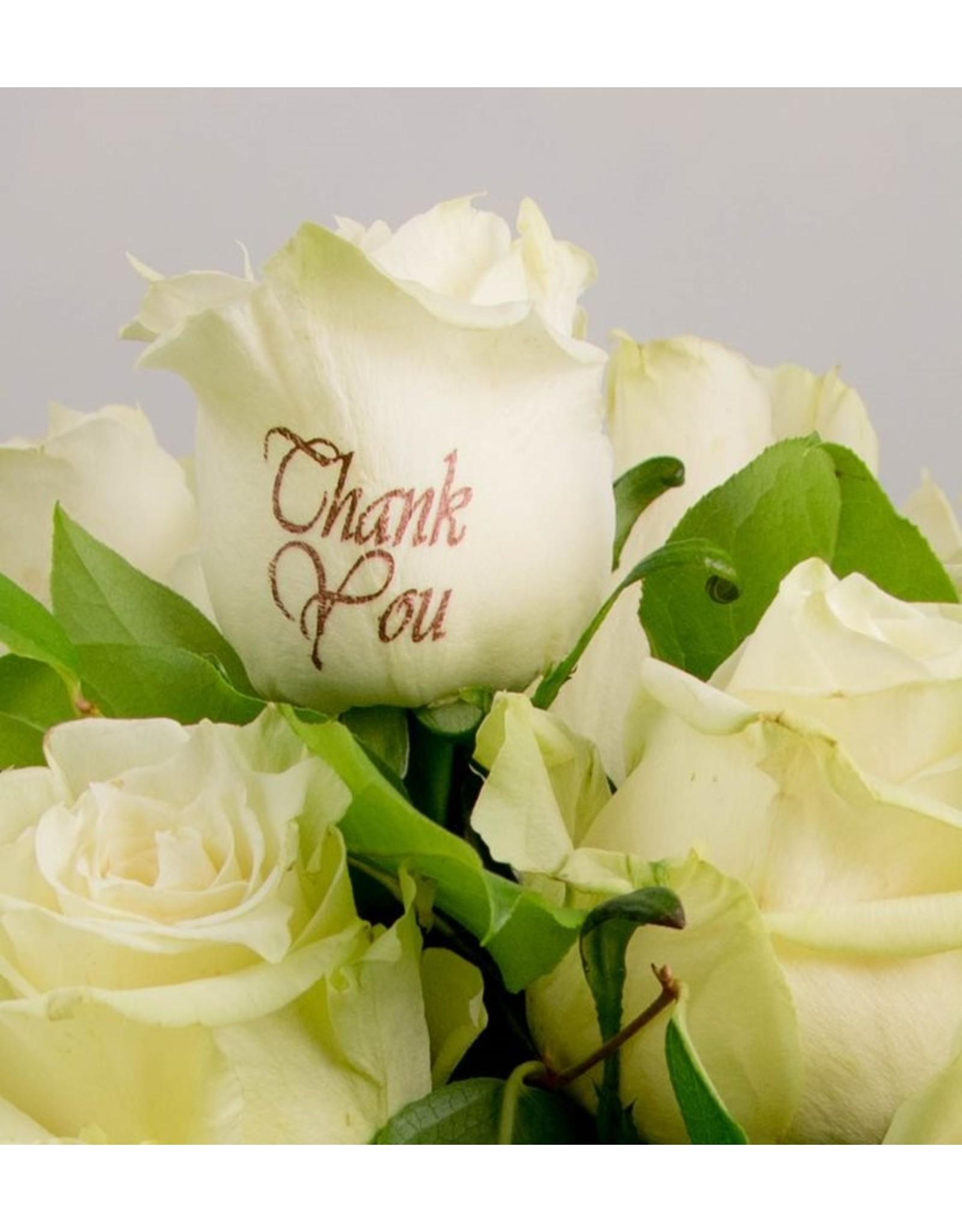 Magic Flowers Boeket 15 rozen - Wit - Thank you