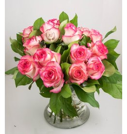 Magic Flowers Boeket 15 rozen - Wit/Roze - 25