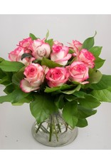 Magic Flowers Boeket 9 rozen - Wit/Roze - 25