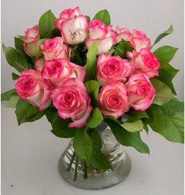 Magic Flowers Boeket 15 rozen - Wit/Roze - love you