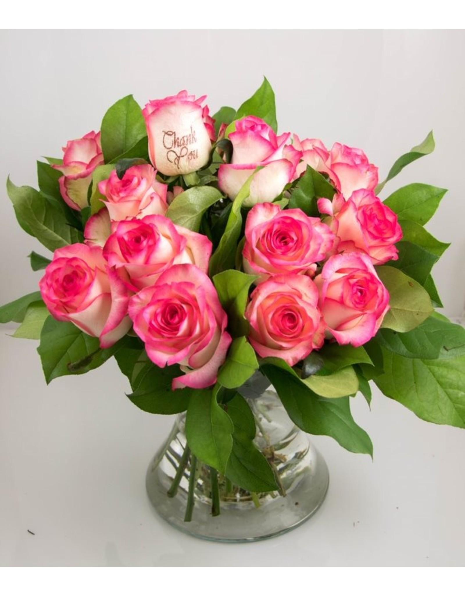 Magic Flowers Boeket 15 rozen - Wit/Roze - Thank you