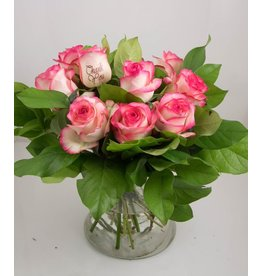 Magic Flowers Boeket 9 rozen - Wit/Roze - Thank you