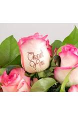 Magic Flowers Boeket 9 rozen - Wit/Roze - Thank you