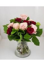 Magic Flowers Boeket 15 rozen - Rood/Roze - 50