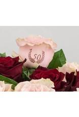 Magic Flowers Boeket 9 rozen - Rood /Roze - 50