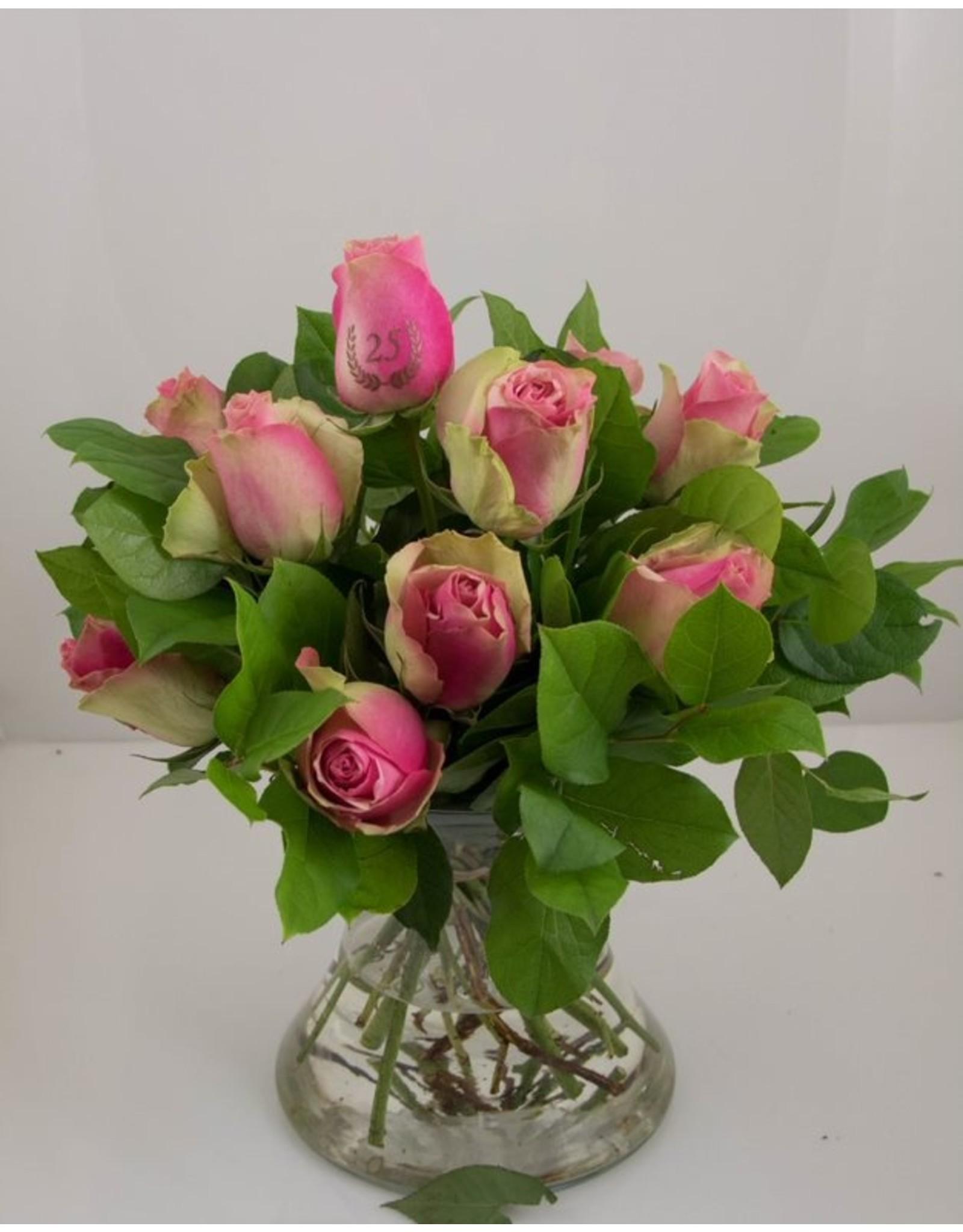 Magic Flowers Boeket 9 rozen - Roze - 25