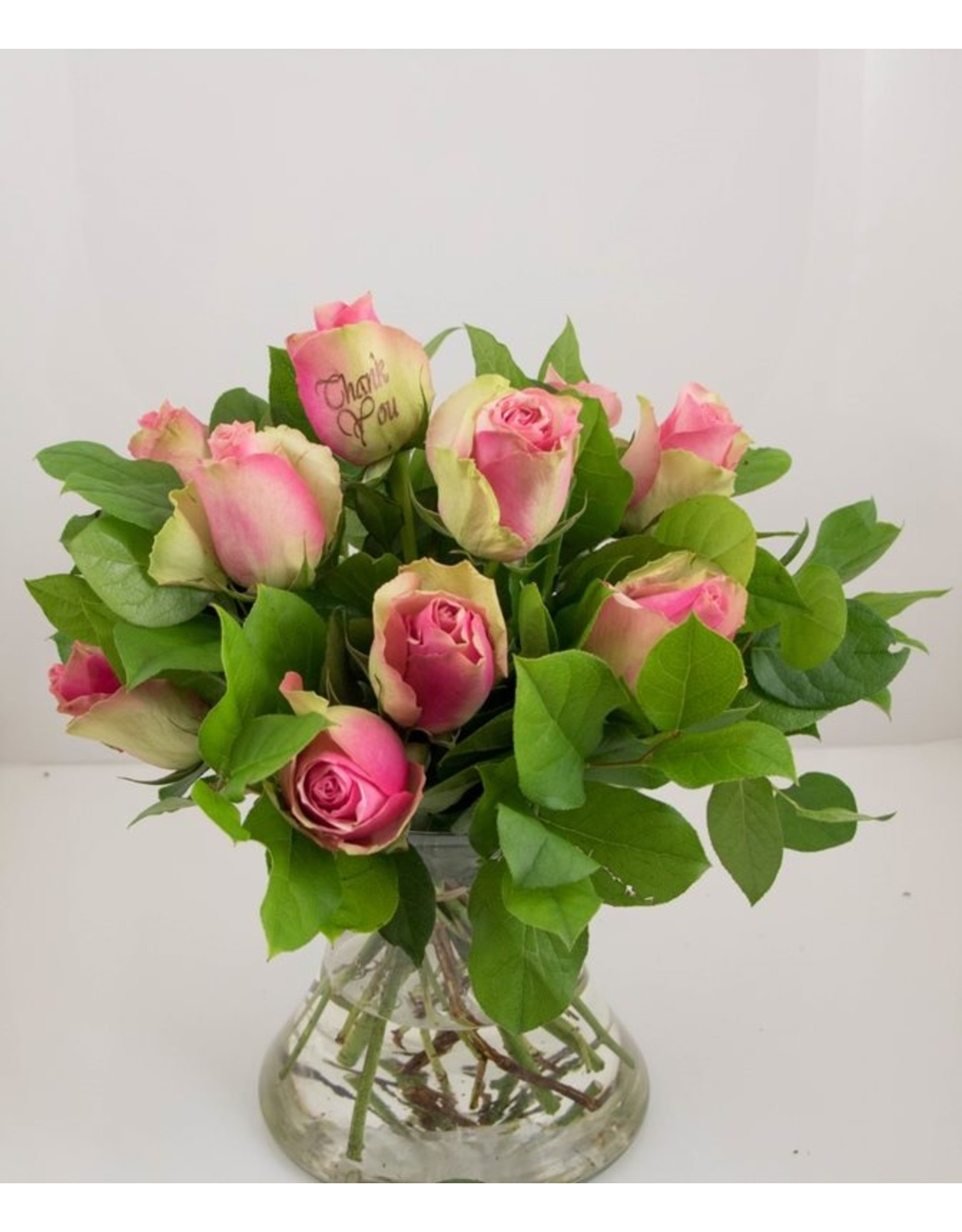 Magic Flowers Boeket 9 rozen - Roze - Thank you