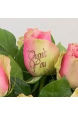 Magic Flowers Boeket 15 rozen - Roze - Thank you