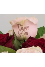 Magic Flowers Boeket 9 rozen - Rood/Roze - Thank you