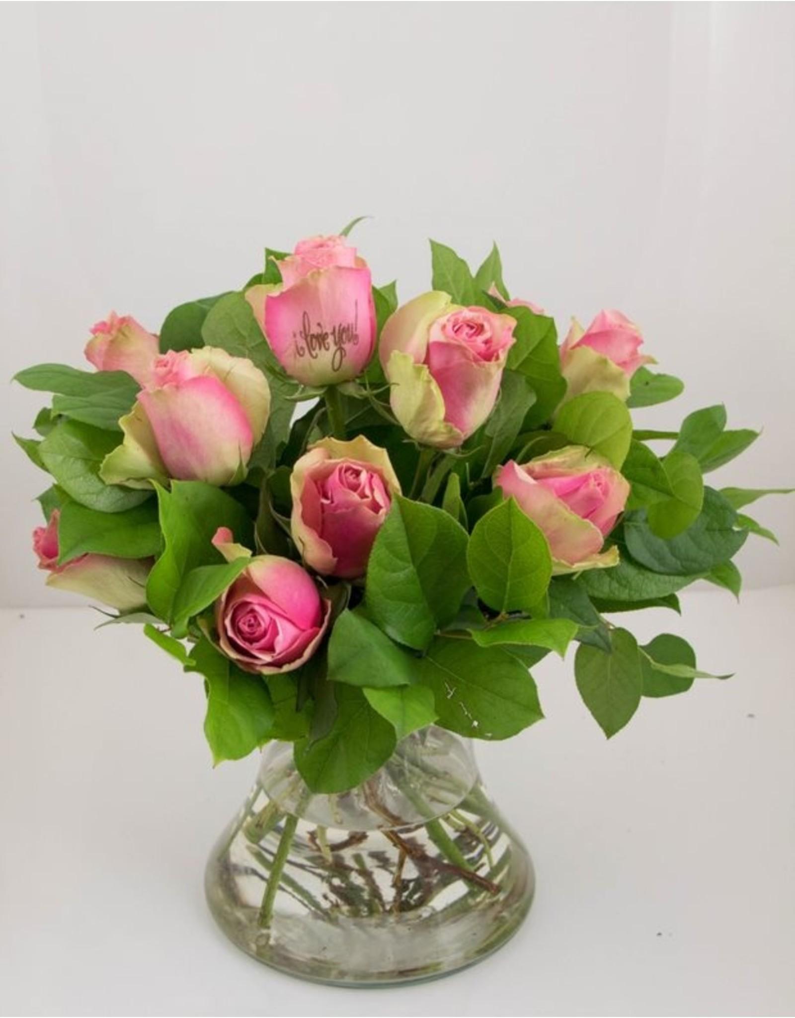 Magic Flowers Boeket 9 rozen - Roze - Love you