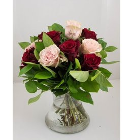 Magic Flowers Boeket 9 rozen - Rood/Roze - love you