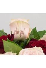 Magic Flowers Boeket 15 rozen - Rood/Roze - Love you