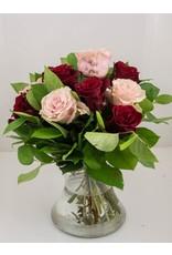 Magic Flowers Boeket 9 rozen - Rood/Roze - Zie je graag