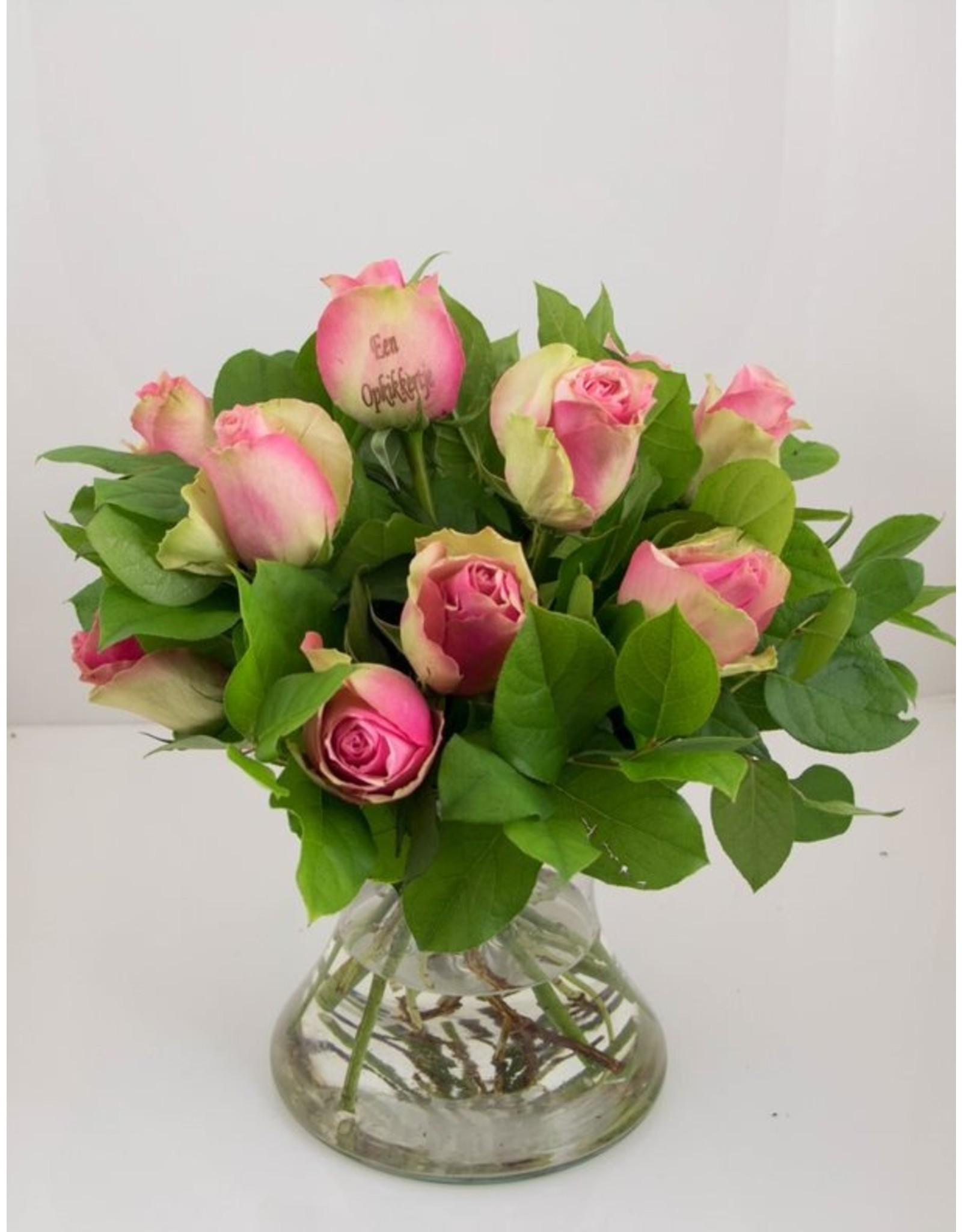 Magic Flowers Boeket 9 rozen - Roze - Een opkikkertje