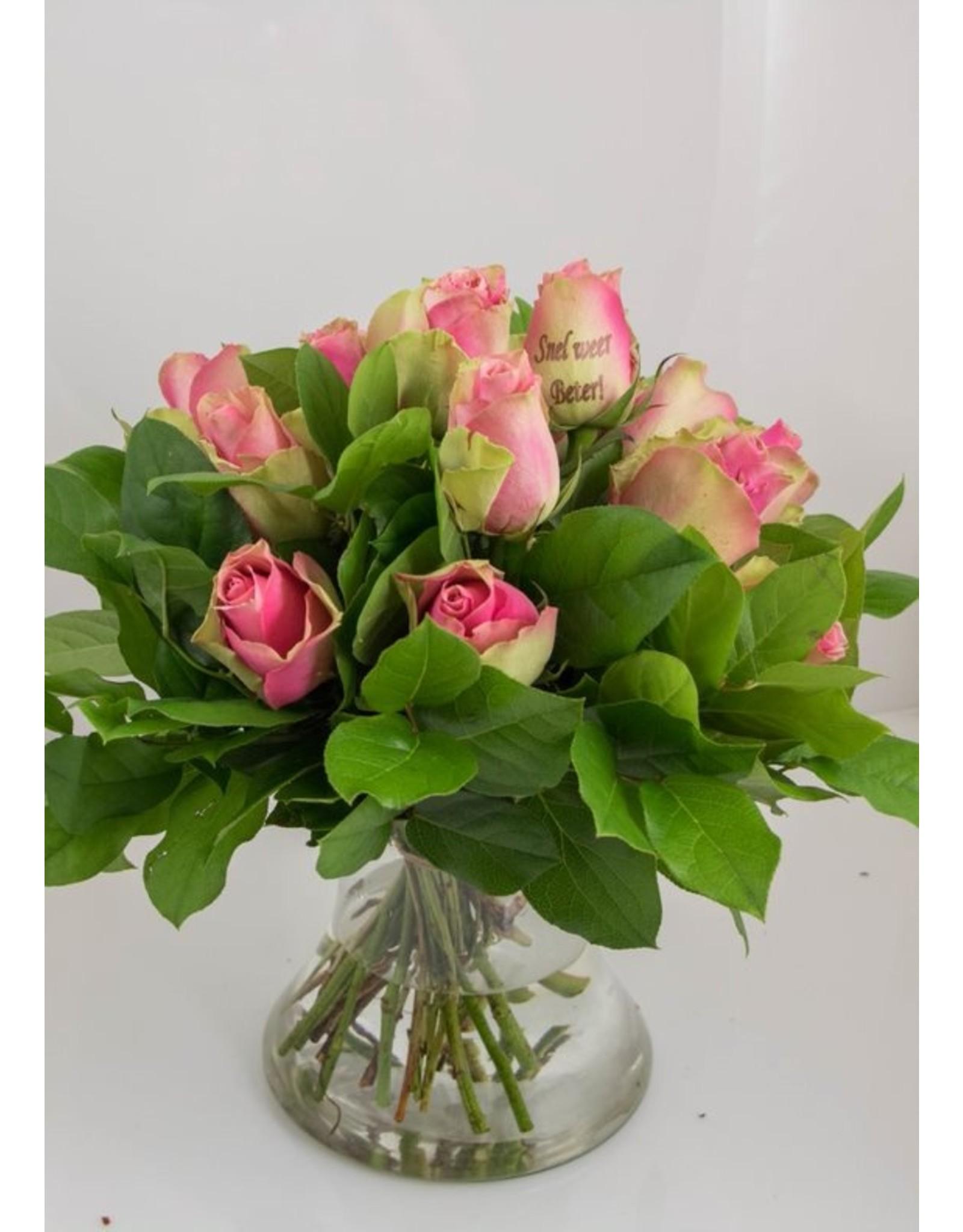 Magic Flowers Boeket 15 rozen - Roze - Snel weer beter