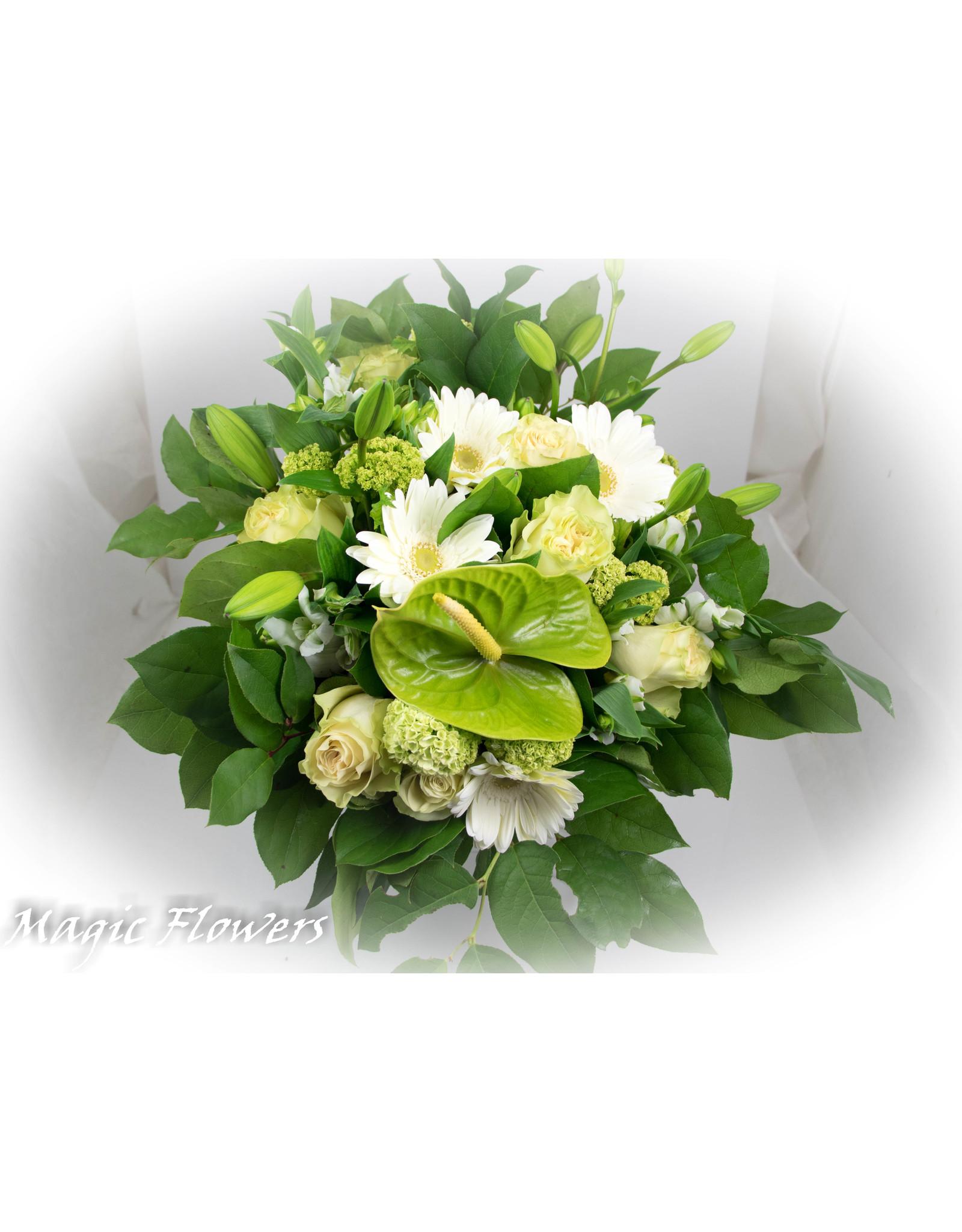 Magic Flowers Boeket Wit - Groen XL