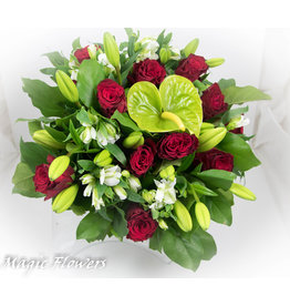 Magic Flowers Boeket Rood - Wit XL