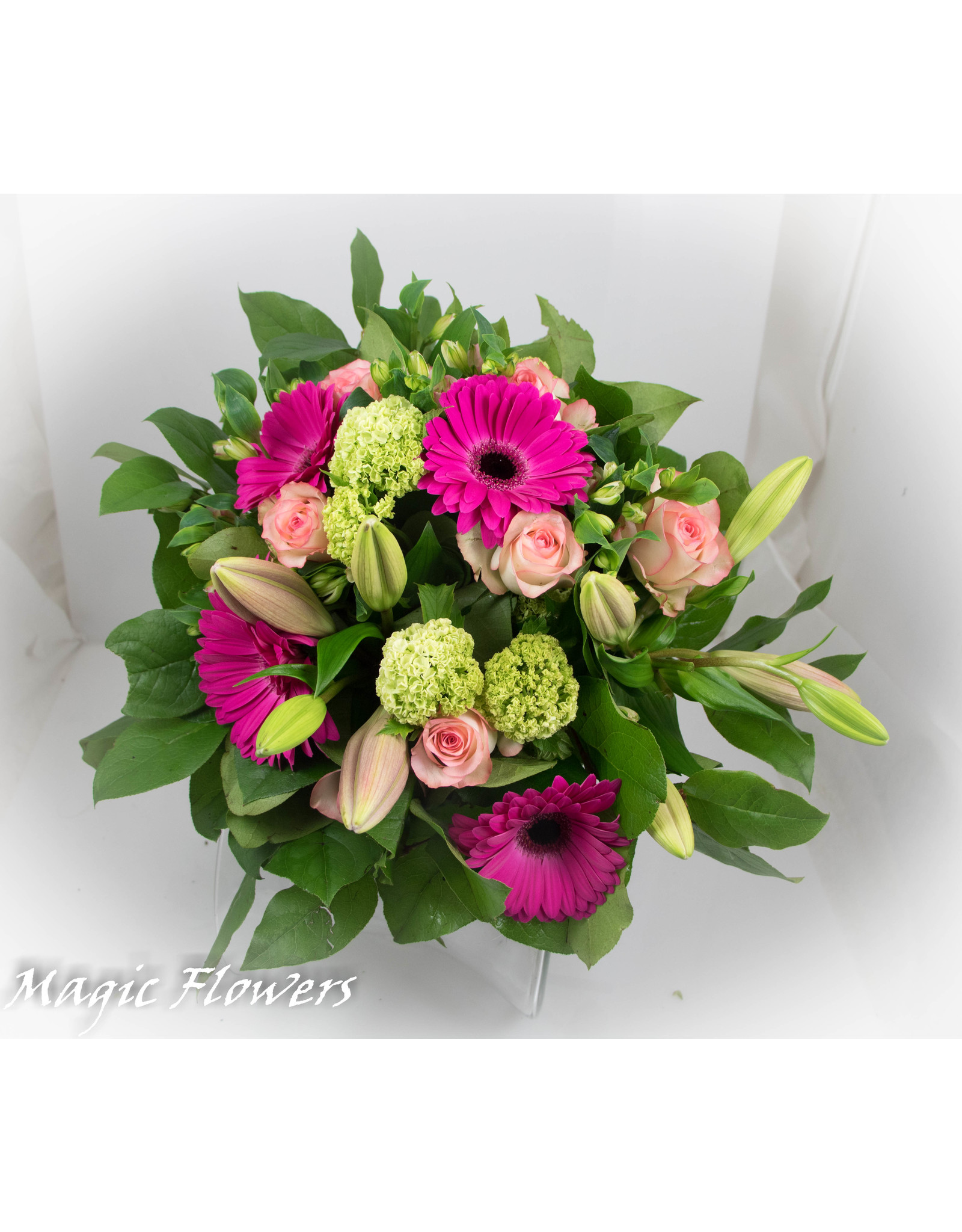 Magic Flowers Boeket Roze - Wit XL