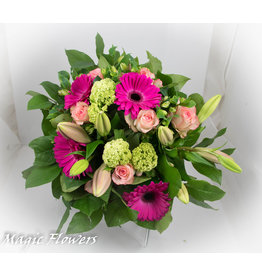 Magic Flowers Boeket Roze - Wit XL