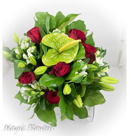 Magic Flowers Boeket Rood - Wit Medium