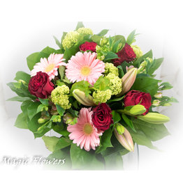 Magic Flowers Boeket Rood - Roze Medium