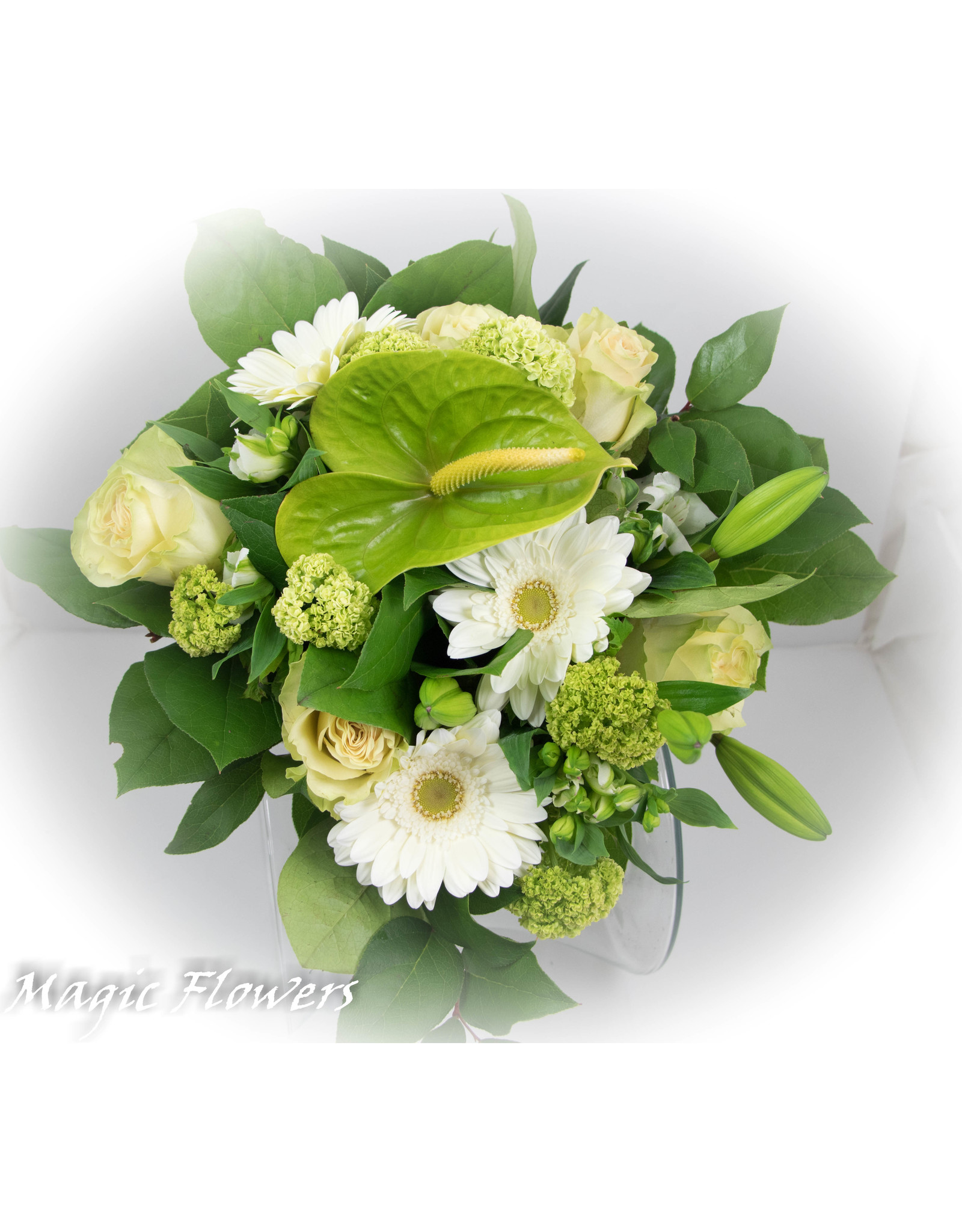 Magic Flowers Boeket Wit - Groen Medium