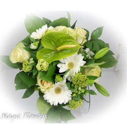 Magic Flowers Boeket Wit - Groen Medium