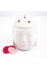 ScentBurners Buddha Head Crakle White