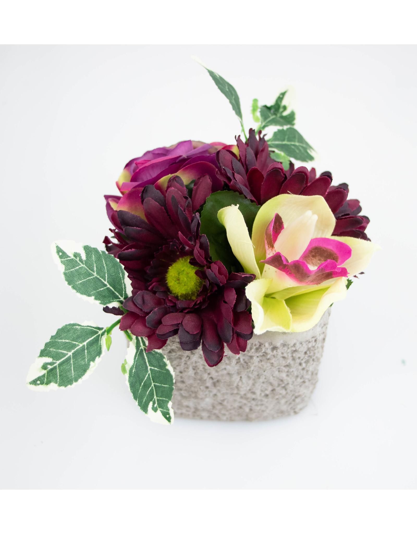 Vierkant stenen potje paarse orchidee - Mod37