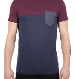 Iriedaily Block Pocket Tee - Navy wine