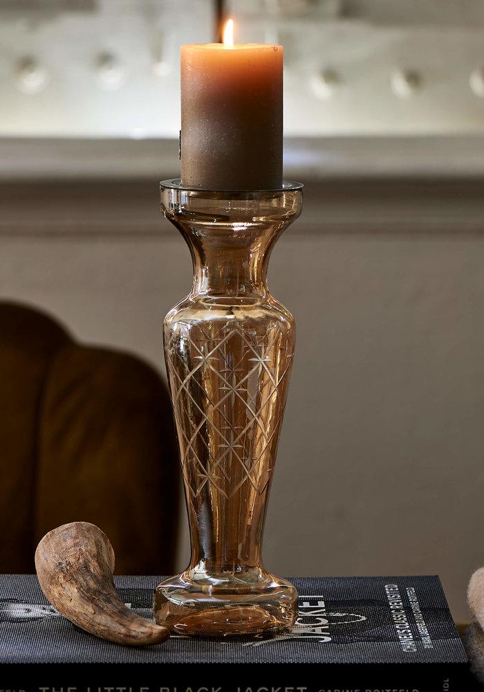 Rivièra Maison Luxury Diamond Carved Candle Holder gold