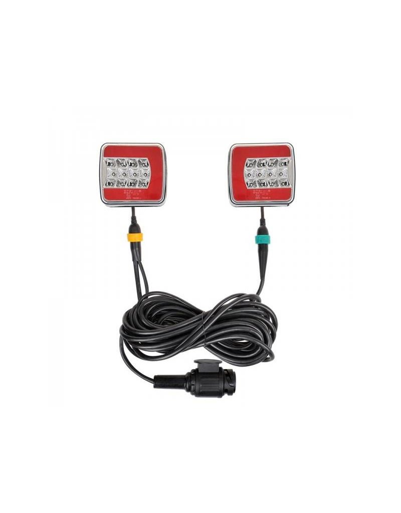 Aanhangerverlichtingsset LED 4F met magneten 7,5+2,5M kabel 13P.