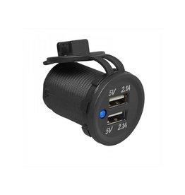 Proplus USB-inbouwdoos tweevoudig 2x2100mA 12V/24V