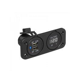 Inbouw kit: voltmeter 6-30V + USB poort dubbel 2x2100mA