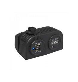 Proplus Opbouw kit: voltmeter 6-30V + USB poort dubbel 2x2100mA